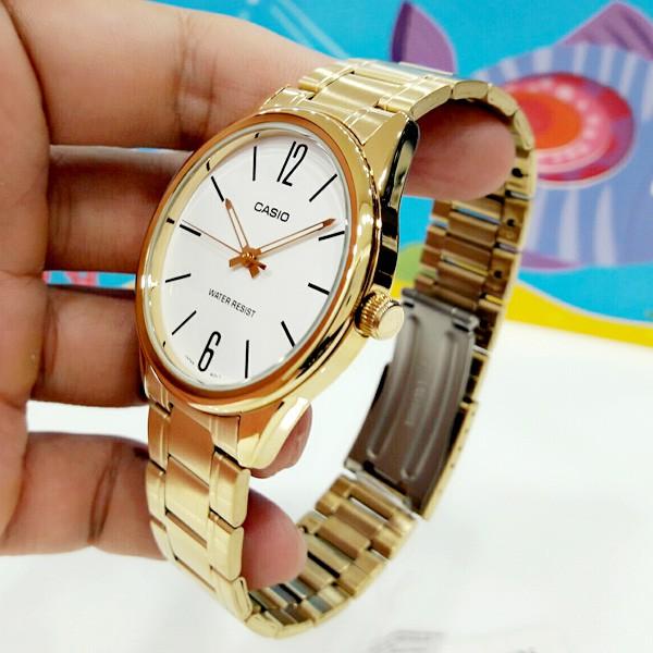 Đồng hồ nam Casio MTP-V005G-7BUDF Dây Kim Loại Mạ Vàng - Mặt Đồng Hồ Màu Trắng