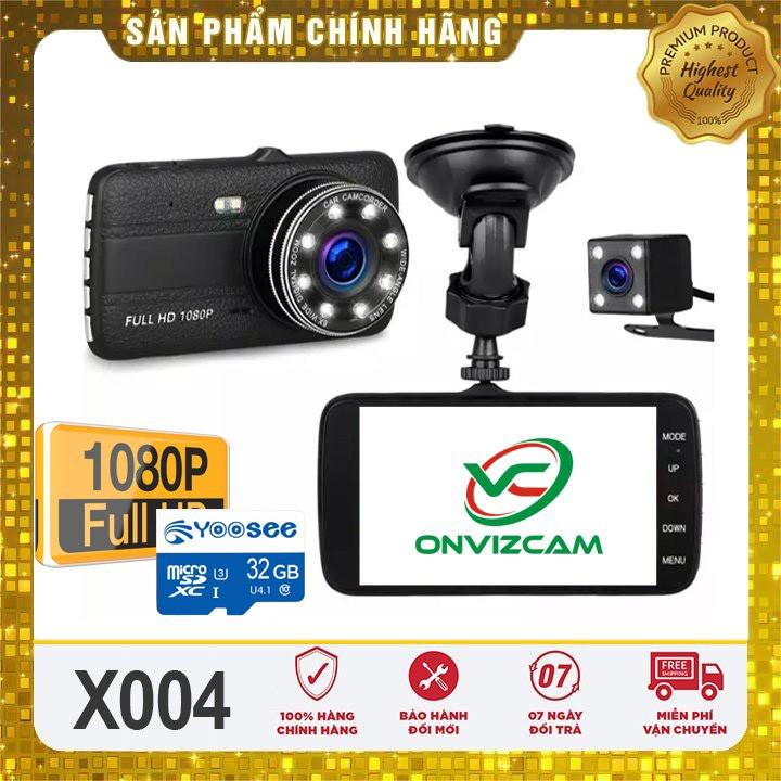 Camera hành trình ô tô Onvizcam X004/  3 mắt camera, màn hình 4 inh full HD, ghi hình đa chiều, có chế độ ghi đè