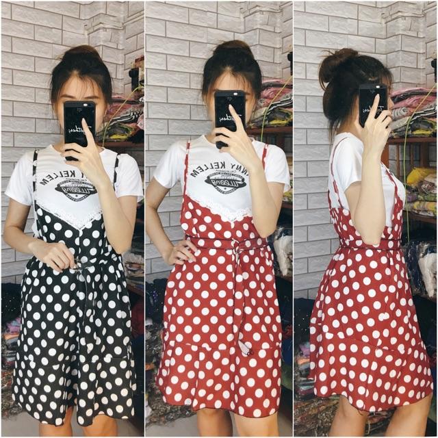 Set áo phối váy yếm 2 dây - set chấm bi dễ thương - trang phục rời 2 món