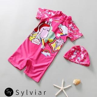 SR 2Pcs Set Baby Girl Swimsuit Cartoon Rainbow Jumpsuit Hat Quick Dry Short Sleeve Swimwear