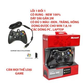 Tay cầm Chơi Game Microsoft Xbox 360 Full Box FREESHIP , Tay Cầm Xbox 360 Có Rung, Hỗ Trợ PC, Laptop Full Skill All thumbnail