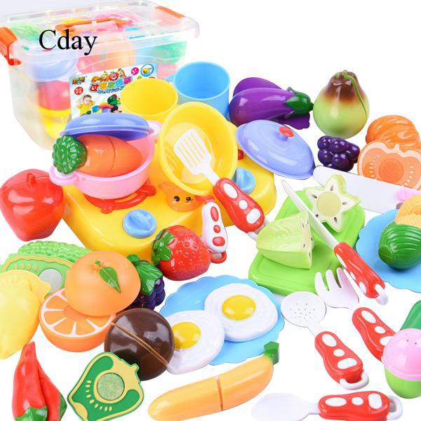 34pcs DIY Funny Kids Kitchen Cutting Toys Set Including Knifes Playset Play C89