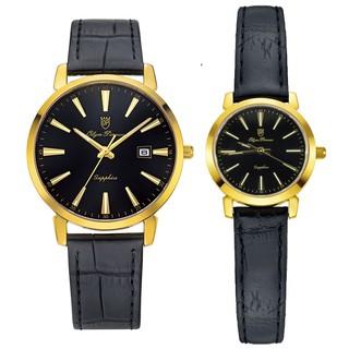 Đồng hồ đôi nam nữ dây da mặt kính chống xước Olym Pianus OP130-03 MK LK-GL đen thumbnail