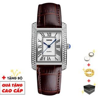 Đồng hồ nữ SKMEI chính hãng thời trang dây da mặt vuông viền đá sang trọng SMW08-SHOP NGỌC HUYỀN
