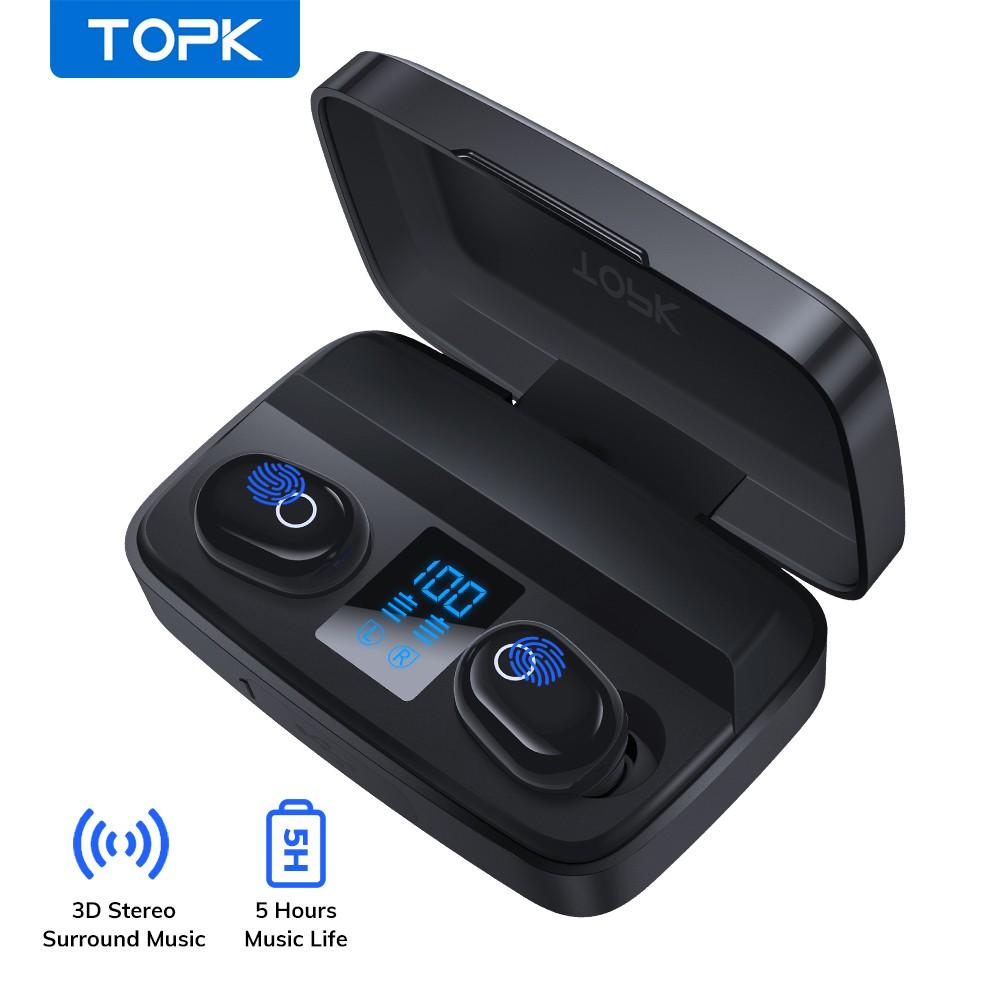 Tai Nghe TOPK T10 TWS Dạng Nhét Tai Kết Nối Bluetooth Không Dây Tích Hợp Micro Âm Thanh Sống Động Chất Lượng Cao