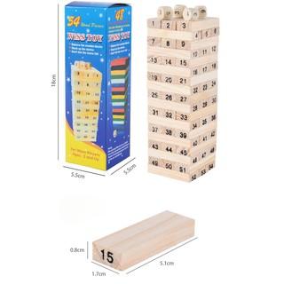 Rút gỗ 54 thanh loại lớn nhỏ, Bộ trò chơi rút gỗ, xếp go có hình phạt giải trí cho cả trẻ em và người lớn thumbnail