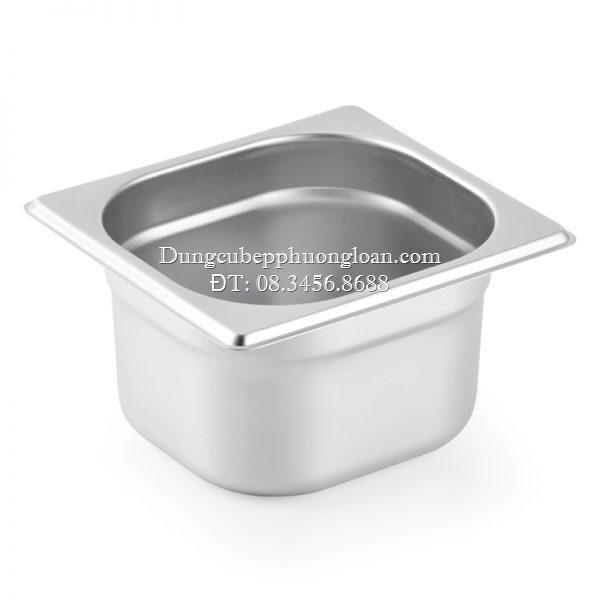 Khay đựng thực phẩm, đựng thạch Topping inox 1/6 có nắp