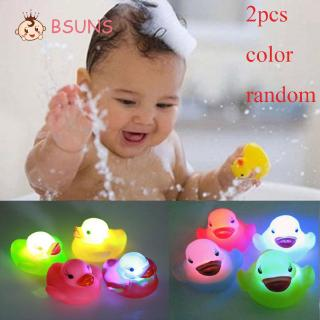 BSUNS 2 Pcs Color Random Baby Bathroom Auto Multi Flashing Rubber Duck