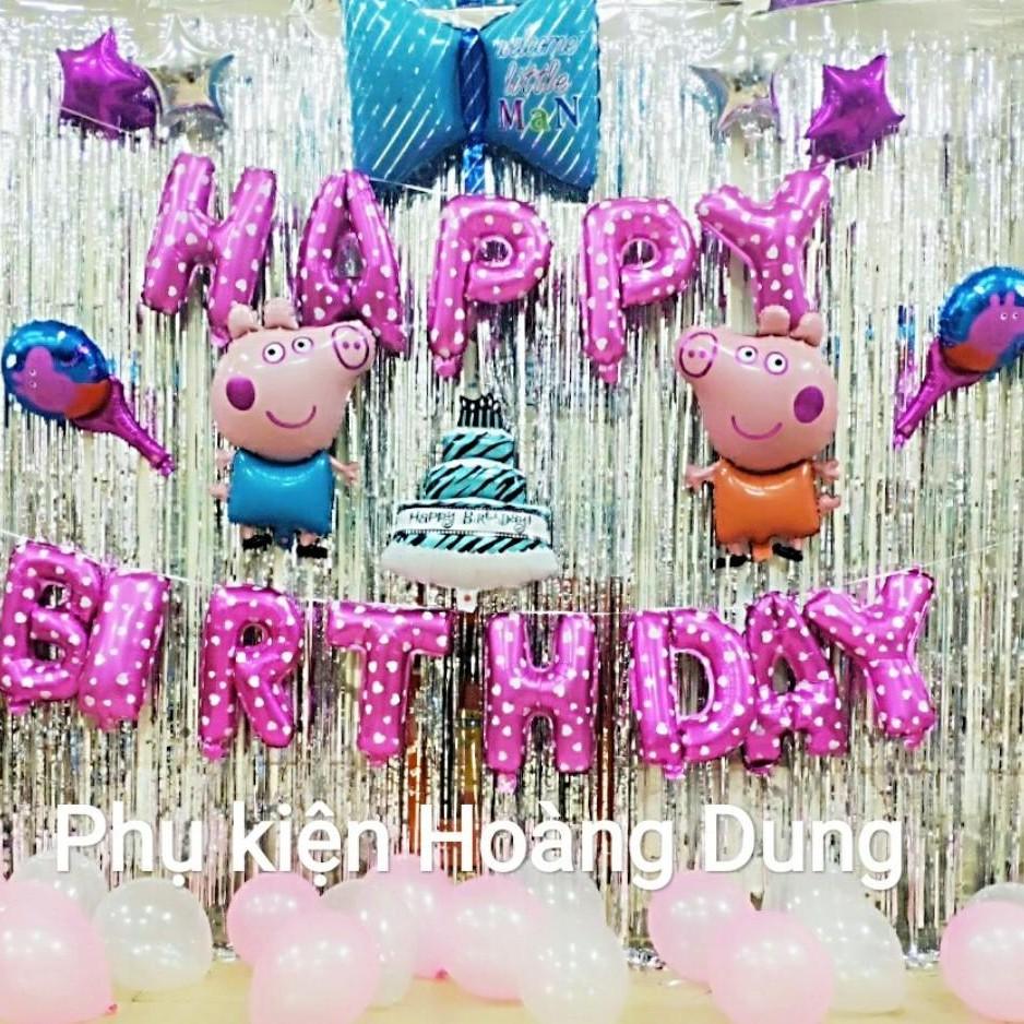 Combo set bóng bay trang trí sinh nhật em bé TẶNG 1 bơm mini + 1 băng dính + 20 bóng nhũ tròn + 02 rèm kim tuyến