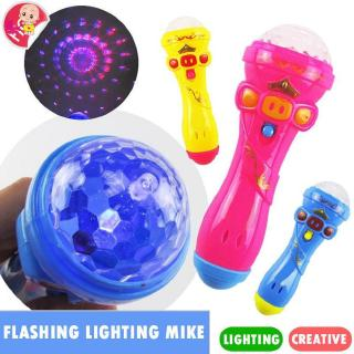 ❦Ready Stock❦☞ Kids Microphone Model Lighting Toy Wireless Karaoke Flashing Projector Mike
