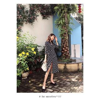 (Order/Bigsize) Váy Xẻ Đùi Chấm Bi – V128 Xịn