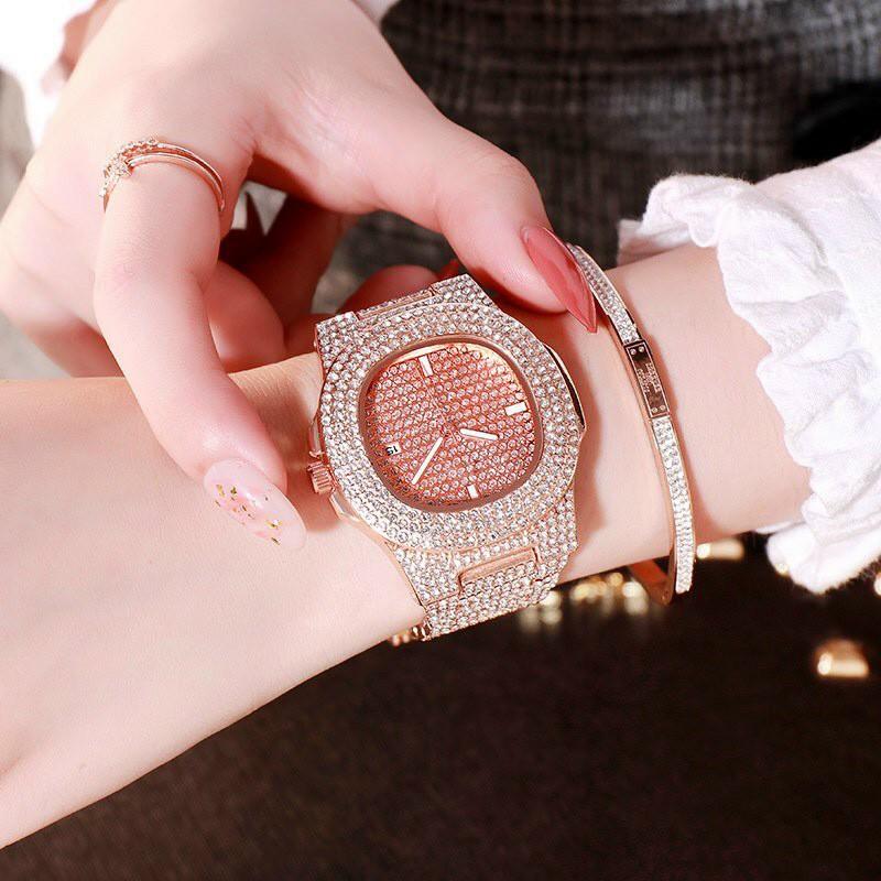 Đồng hồ thời trang nam nữ DZG D9 mặt vuông full đá dây kim loại - có lịch ngày siêu đẹp