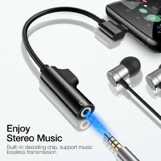 Cáp chuyển đổi âm thanh từ USB Type C sang cổng AUX 3.5mm hỗ trợ sạc và nghe nhạc cùng lúc