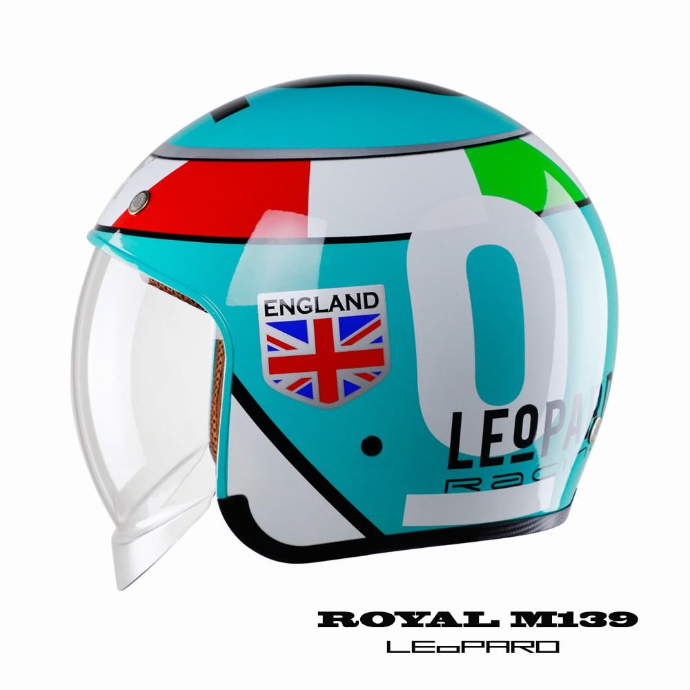 Mũ bảo hiểm 3/4 đầu kính âm Royal M139 tem LEoPard đi phượt kính màu khói đi được cả ngày và đêm - Bảo hành 12 tháng