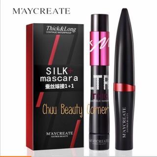 Set Chuốt mi Silk Mascara Maycreate 1+1 Thick & Long chính hãng