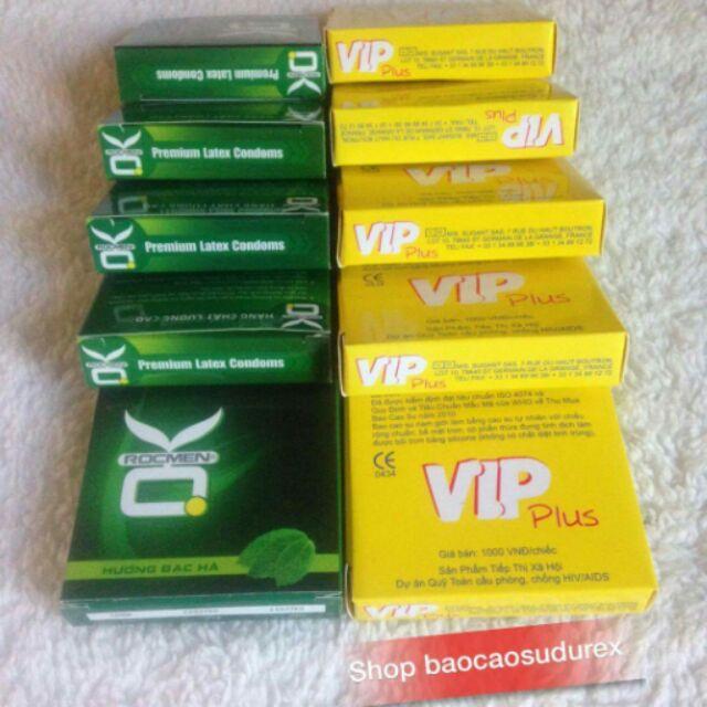10 Hộp bao cao su Vip + Rocmen ok (30 cái)