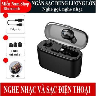 Tai nghe Bluetooth M8 tai nghe 1 bên kim hộp sạc, có thể sử dụng để sạc điện thoại hoặc làm giá đỡ điện thoại (Đen)