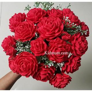 10 bông Hoa hồng giấy nhún Ý cao cấp màu tùy chọn + 1 bó hoa điểm