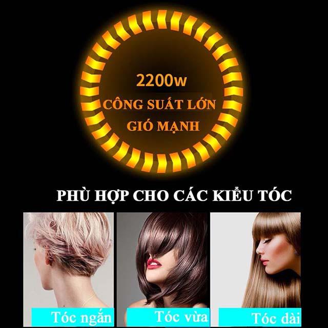 Máy sấy tóc chính hãng POREE, Máy sấy tóc 2 chiều nóng lạnh, gấp gọn, máy sấy tóc công suất lớn 2200W