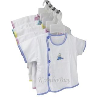 Bộ 5 Áo sơ sinh ngắn tay màu trắng cúc lệch, viền màu An An cho bé từ sơ sinh đến 9kg thumbnail