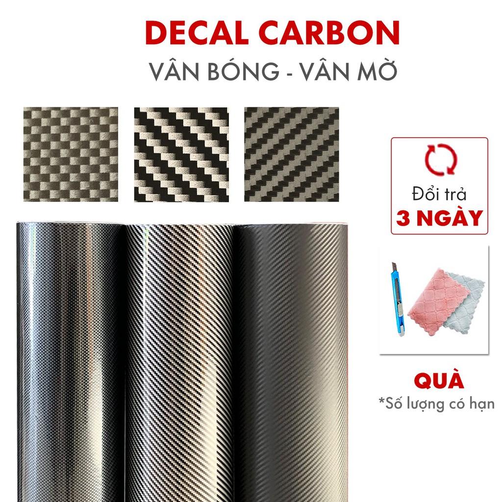 Decal carbon dán xe , decan cacbon vân bóng nhám sẵn keo khổ 0.6m 1.2m