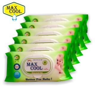 [Bebu123] Combo 6 gói khăn ướt MAX COOL 80 TỜ - KHÔNG HƯƠNG