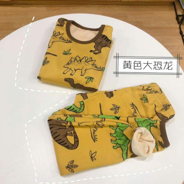Bộ nỉ lót nhung vàng cực dày Quảng Châu cho bé