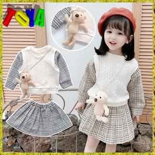 Set áo len + váy dễ thương cho bé gái