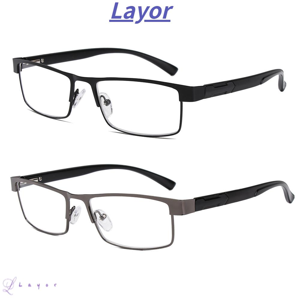 💜LAYOR💜 Men Eyeglasses Magnifying +1.00~+4.0 Diopter Business Reading Glasses Flexible Portable New Fashion Ultra Light Resin Metal Titanium Alloy Eye wear Vision Care/Multicolor