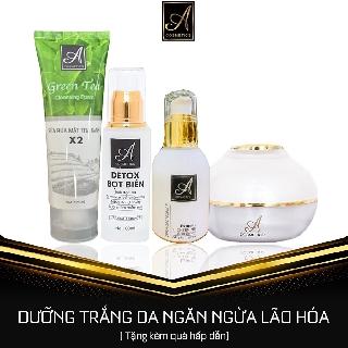 Bộ 4 sản phẩm dưỡng trắng da mặt Sữa Rửa Mặt+Detox+Serum+Kem Face Tặng mặt nạ Giúp da trắng mịn căng bóng như da e bé thumbnail