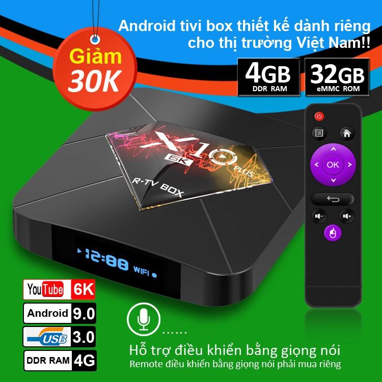 TV BOX RAM 4G, Bộ nhớ 32G, xem phim 6K, chơi game, hỗ trợ tính năng tìm kiếm bằng giọng nói bảo hành 12 tháng X10 PLUS