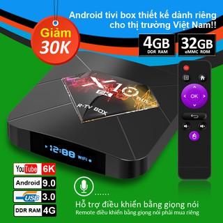 Tv box ram 4G Bộ nhớ 32G xem phim 6K tivi box hỗ trợ tìm kiếm bằng giọng nói bảo hành 12 tháng X10 PLUS android box
