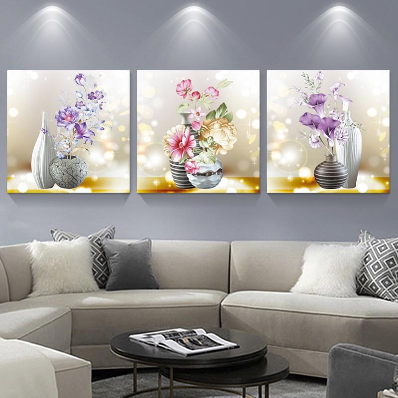 (HÀNG ORDER)Tranh thêu chữ thập chỉ lụa bộ hoa 3 bức MNLS1561000