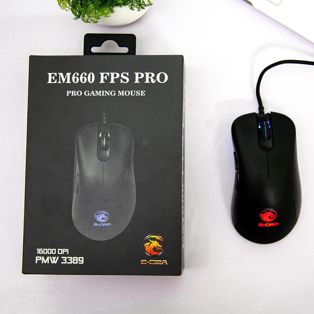Chuột Gaming E-Dra EM660 Pro FPS ( LED RGB, 16000 DPI, Phần mềm tùy chỉnh ) - Bảo hành 24 tháng