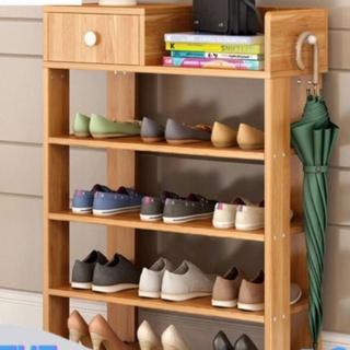 Kệ để giày dép, kệ giày bằng gỗ 5 tầng MDF có ngăn kéo, móc treo đồ lắp ghép siêu tiện dụng cho gia đình