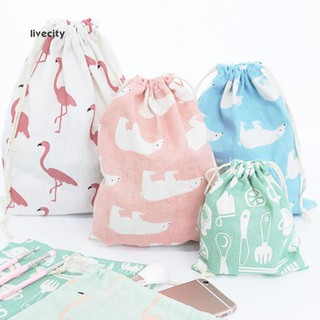 Túi vải dây rút in họa tiết dễ thương đựng đồ đa năng