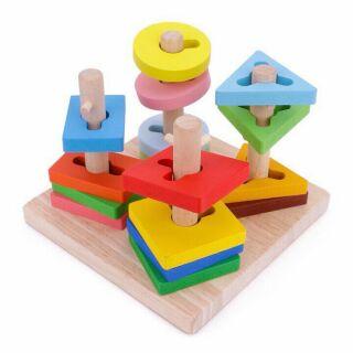 Thả hình gỗ 4 cọc zích zắc 3D trí tuệ cho bé