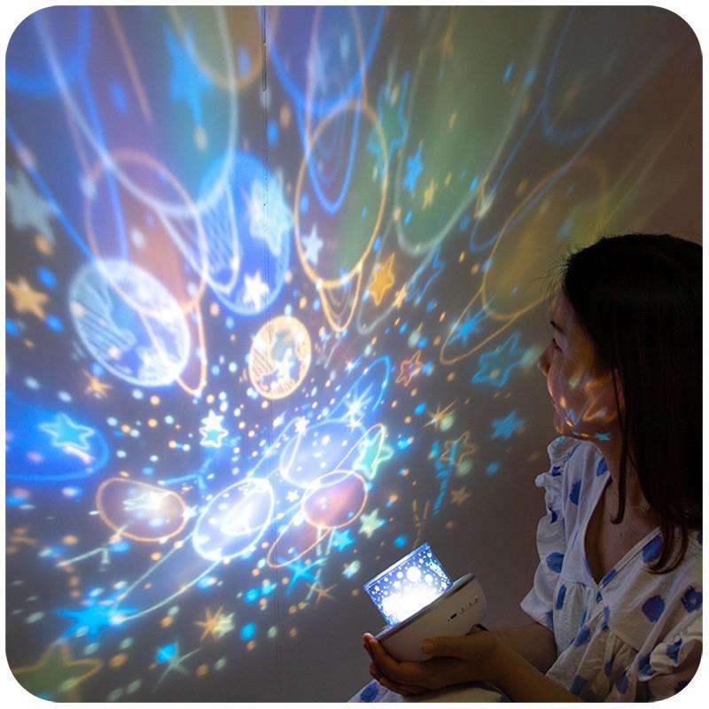 [Siêu HOT] Đèn Ngủ Chiếu Sao Tự Xoay 3D, Đèn Ngủ Ngàn Sao Xoay Tự Động Đẹp Huyền Ảo (Nắp Lá Mầm)