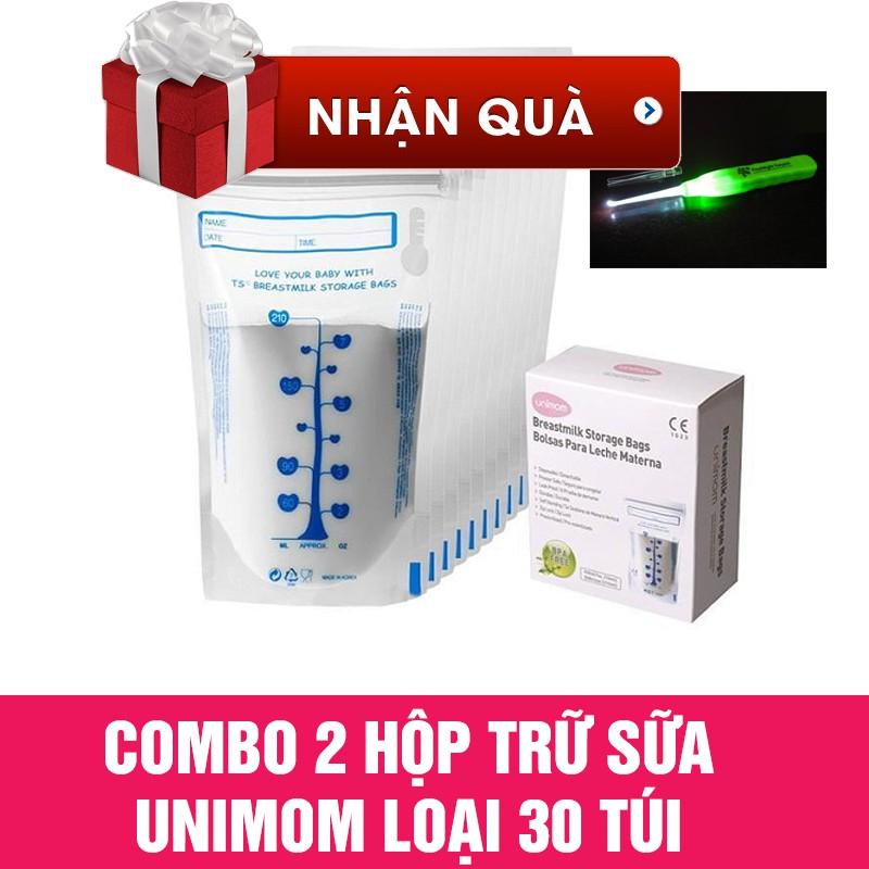 [Free ship 99k giao tại HN + HCM]Combo 2 hộp Túi trữ sữa Unimom loại 30 túi tặng 1 lấy ráy tai đèn
