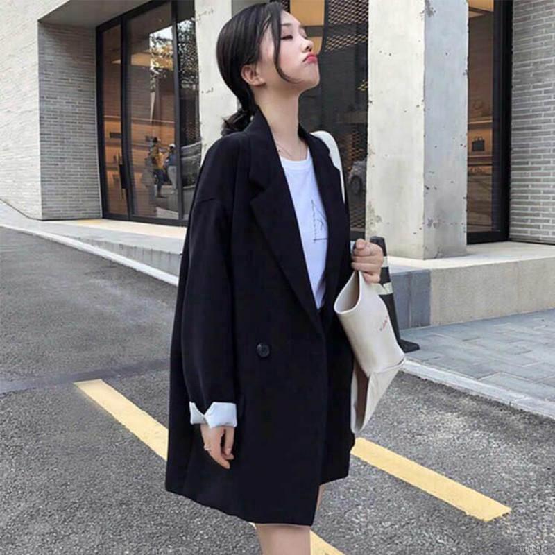 [Mã WARN60 hoàn 15% tối đa 60K xu đơn 300K] Áo Blazer tay dài màu trơn cho nữ