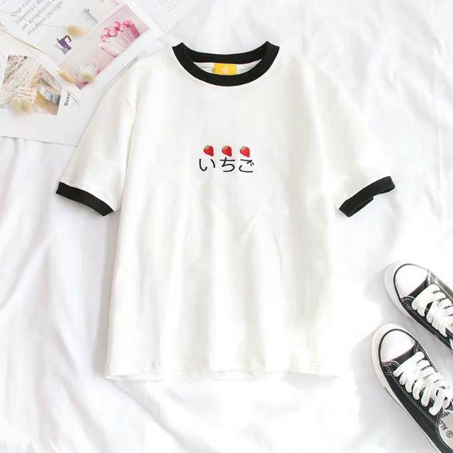CUTE Áo thun nữ,áo kiểu, áo thun teen , áo thun đẹp, áo thun rẻ, áo thun from rộng thêu chữ Nhật và quả dâu siêu