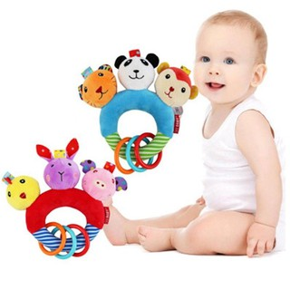 3 Animals in 1 PP Cotton Baby Rattle Toy Baby Rattle Handbells Colourful Animals
