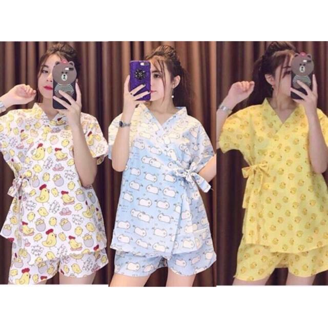 [Mã FAMAYWA2 giảm 10K đơn 50K] Bộ ngủ kimono tay ngắn quầ