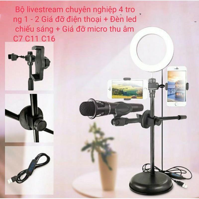 ivn174 Giá đỡ LiveStream 4 in 1, giá đỡ LiveStream kẹp 2 điện thoại, có đèn và Mic