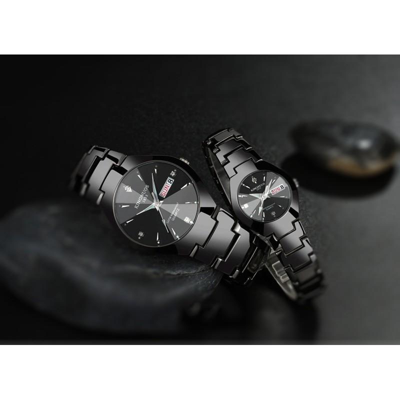 ĐÔNG HỒ ĐÔI KINGNUOS K1853 DÂY THÉP KHÔNG GỈ +tặng pin đồng hồ