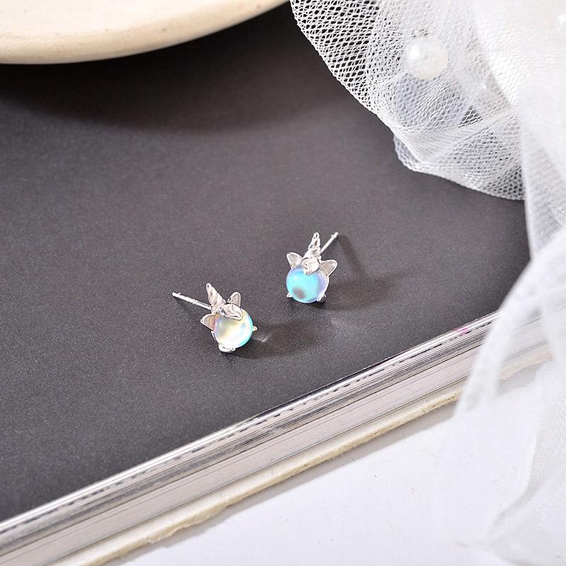 925 Silver Lucky Unicorn Stud Earrings