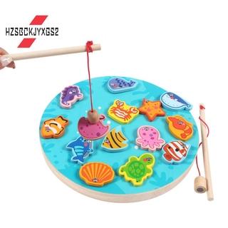 Children's Wooden Magnetic Fishing Toy Kitten Fishing Game Wood Fishing Educational Games for Kids Gift