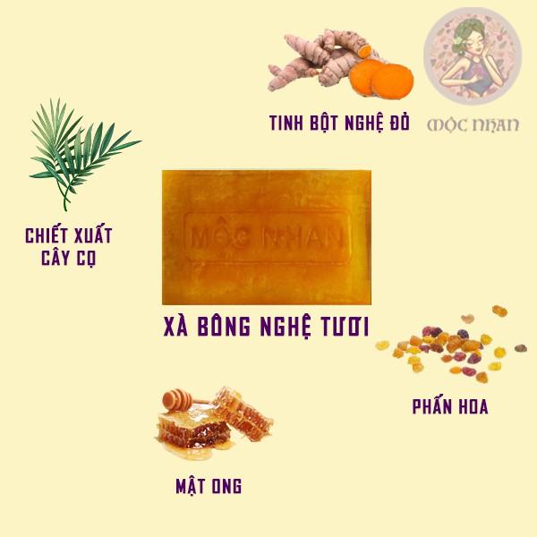 Xà bông nghệ, mướp đắng, handmade, thảo dược, thiên nhiên, sáng da, giảm mụn  chính hiệu MỘC NHAN 100g