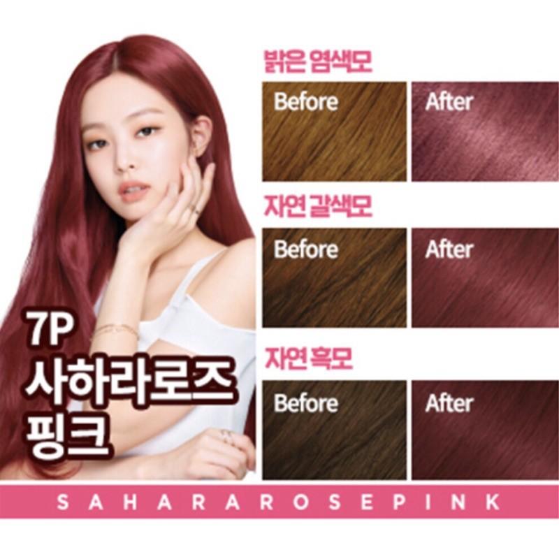 [SẴN_MÀU ĐỎ HỒNG 7P] Thuốc Nhuộm Tóc Blackpink Hello Bubble màu Sahara 7P Hàn Quốc Chính Hãng