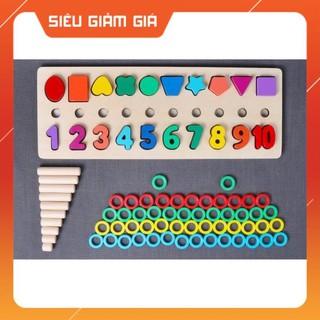 Giáo cụ Montessori cột tính học đếm và hình khối bằng gỗ giá sỉ, giá bán buôn